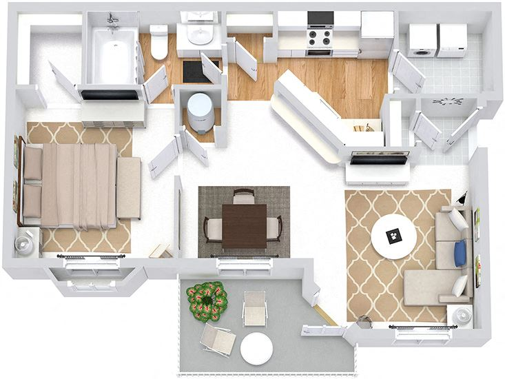 Ashley 3D. 1 bedroom apartment. Kitchen with bartop open to living & dinning rooms. 1 full bathroom. Walk-in closet. Patio/balcony.