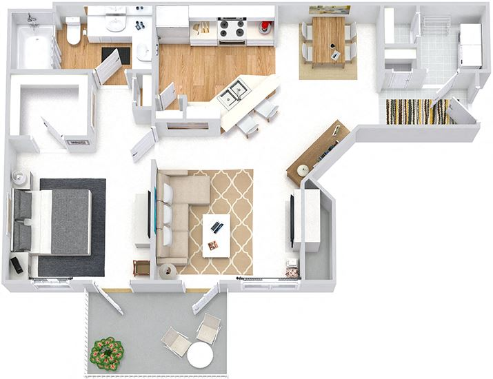 Sweetgrass 3D. 1 bedroom apartment. Kitchen with bartop open to living & dinning rooms. 1 full bathroom, double vanity. Walk-in closet. Patio/balcony. Optional Fireplace.