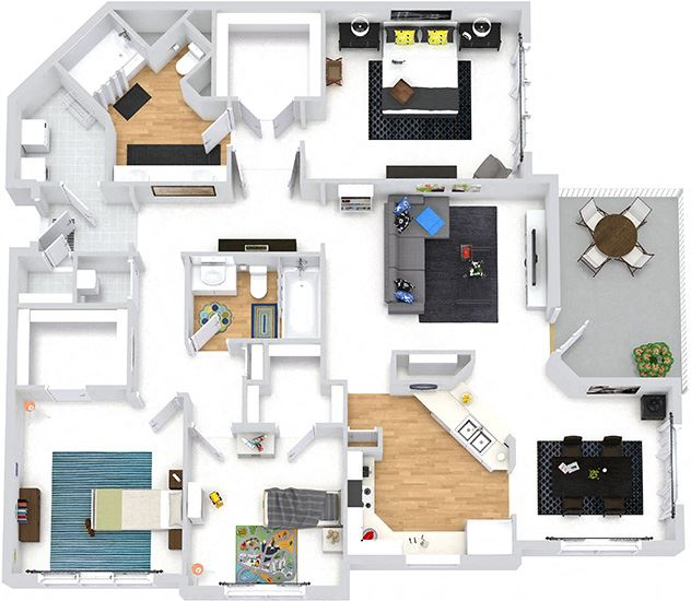 Savannah 3D. 3 bedroom apartment. Kitchen with island open to living & dinning rooms. 2 full bathrooms, double vanity in master. Walk-in closets. Patio/balcony. Optional Fireplace.