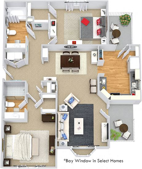 Braxton 3D. 2 bedroom apartment. Kitchen with bartop open to living & dinning rooms. 2 full bathrooms, shower stall in master. Walk-in closets. Patio/balcony.
