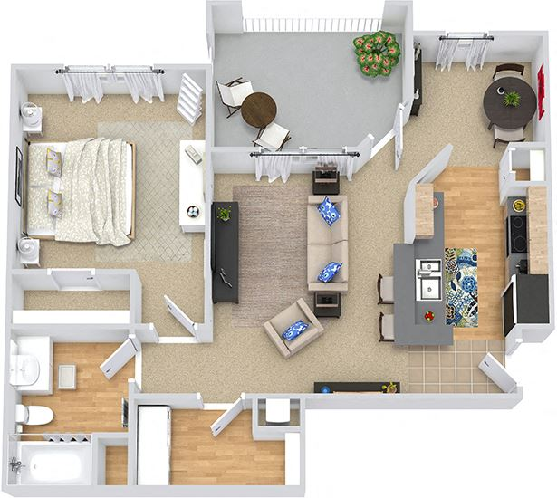 Antilles 3D. 1 bedroom apartment. Kitchen with bartop open to living room. 1 full bathroom. Walk-in closet. Patio/balcony.