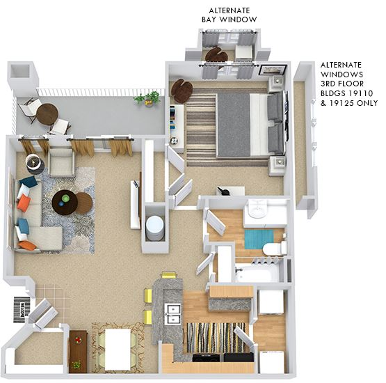 Calypso 3D. 1 bedroom apartment. Kitchen with bartop open to living/dinning rooms. 1 full bathroom. Large closet. Storage room. Patio/balcony.