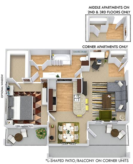Ashton 3D. 1 bedroom apartment. Kitchen with bartop open to living/dinning rooms. 1 full bathroom. Walk-in closet. Patio/balcony.