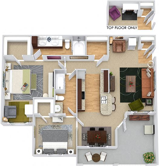 Buxton 3D. 2 bedroom apartment. Kitchen with bartop open to living/dinning rooms. 2 full bathrooms, double vanity in master. Walk-in closets. Patio/balcony. Optional fireplace.