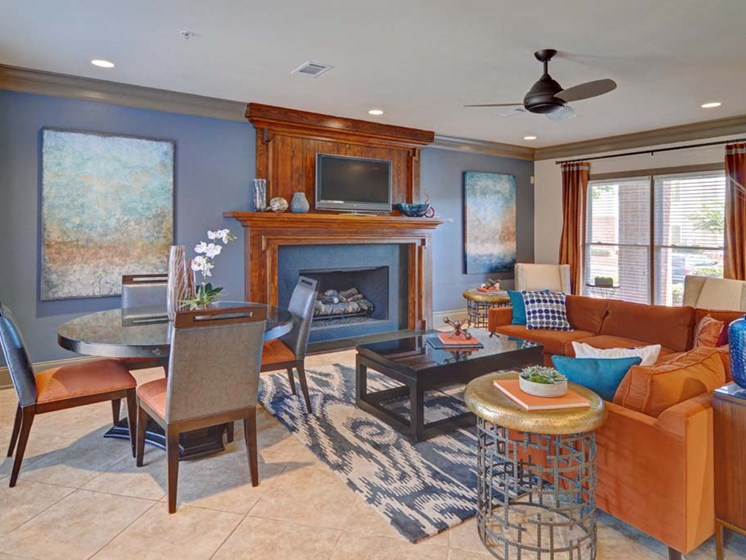 Clubhouse with Television and Fireplace at Cumberland Place Apartment Homes, Tyler, Texas, 75703