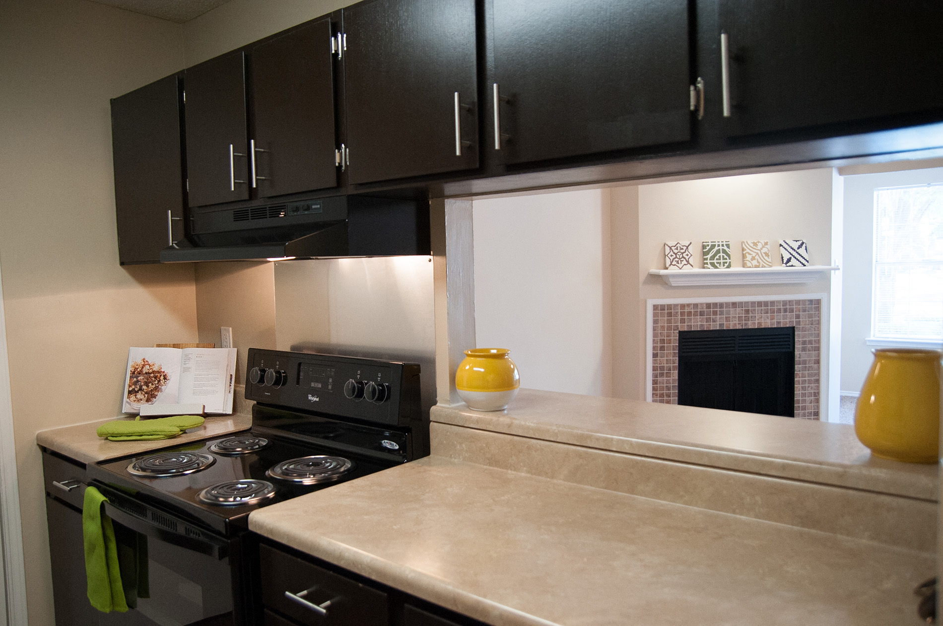 Newly Renovated Kitchen With Ungraded Black Appliances And Espresso Cabinets  At Riverset Apartments In Mud Island