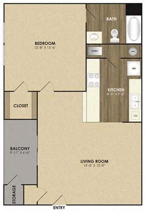 Spacious Elm Floor plan at Riverset Apartments in Mud Island, Memphis, TN