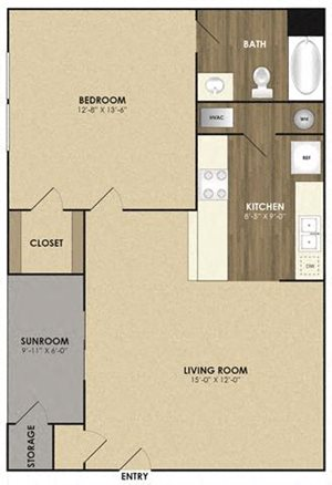 Spacious Elm with sunroom Floor plan at Riverset Apartments in Mud Island, Memphis, TN