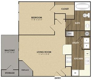 Spacious Maple Floor plan at Riverset Apartments in Mud Island, Memphis, TN