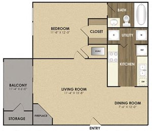 Spacious Magnolia Floor plan at Riverset Apartments in Mud Island, Memphis, TN
