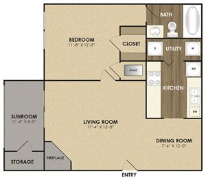Spacious Magnolia with Sunroom Floor plan at Riverset Apartments in Mud Island, Memphis, TN