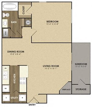 Spacious Willow with sunroom Floor plan at Riverset Apartments in Mud Island, Memphis, TN
