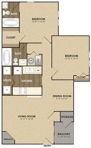 Spacious Cottonwood Floor plan at Riverset Apartments in Mud Island, Memphis, TN