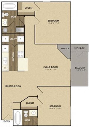 Spacious Riverbirch Floor plan at Riverset Apartments in Mud Island, Memphis, TN
