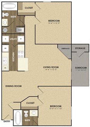 Spacious Riverbirch with sunroom Floor plan at Riverset Apartments in Mud Island, Memphis, TN