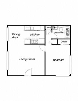 1 Bedroom 1 Bathroom (616)