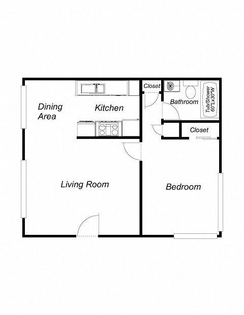 1 Bedroom 1 Bathroom (616) Floor Plan 2