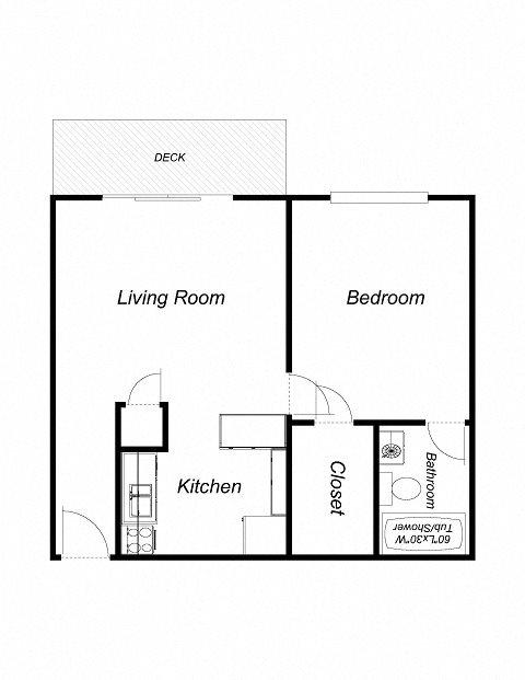 1 Bedroom 1 Bathroom (572) Floor Plan 3