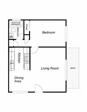 1 Bedroom 1 Bathroom (660)