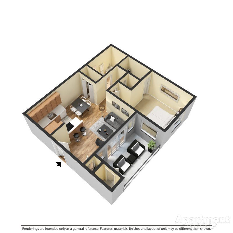 1 Bed 1 Bath A Floor Plan 1