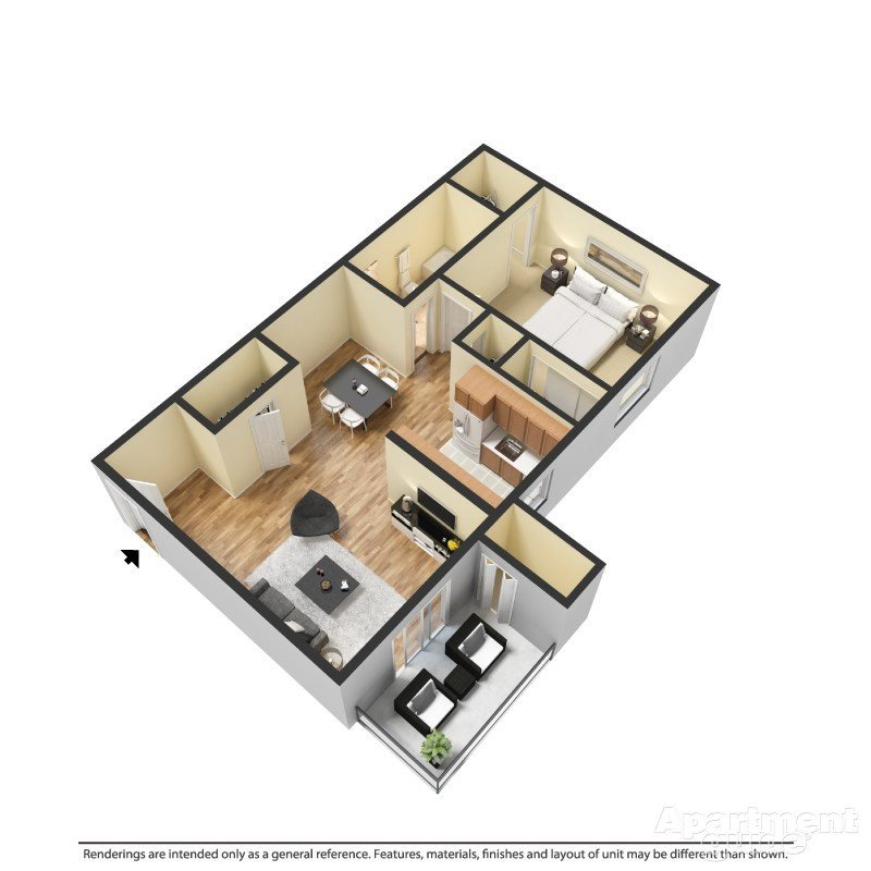 1 Bed 1 Bath B Floor Plan 2
