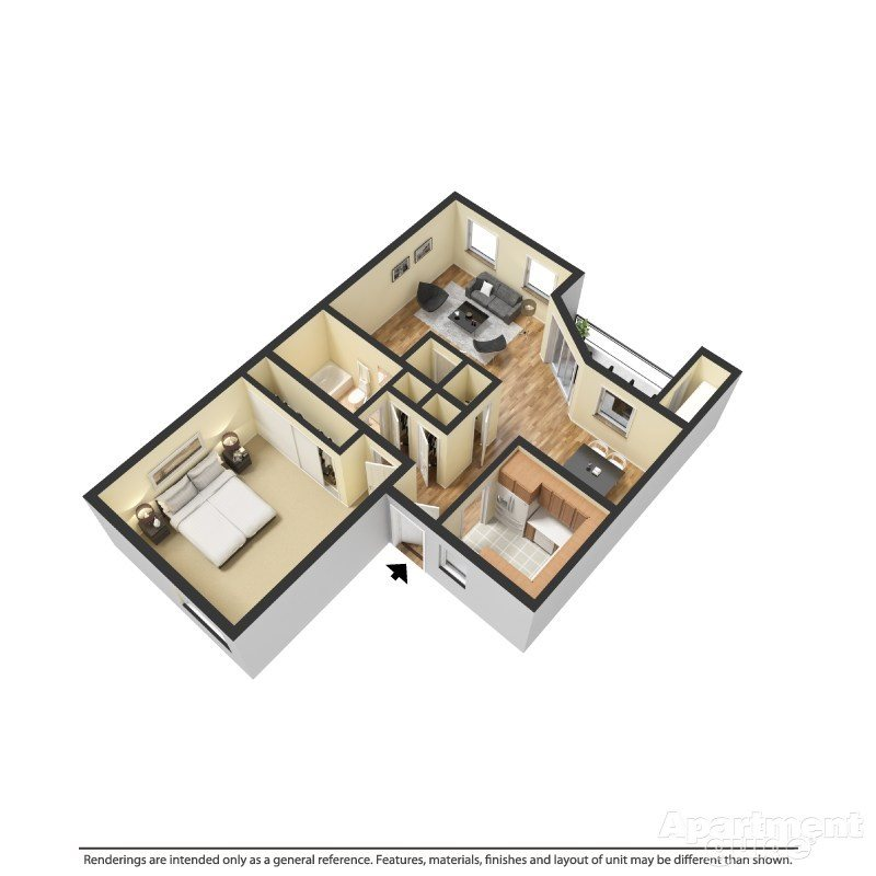 1 Bed 1 Bath C Floor Plan 3