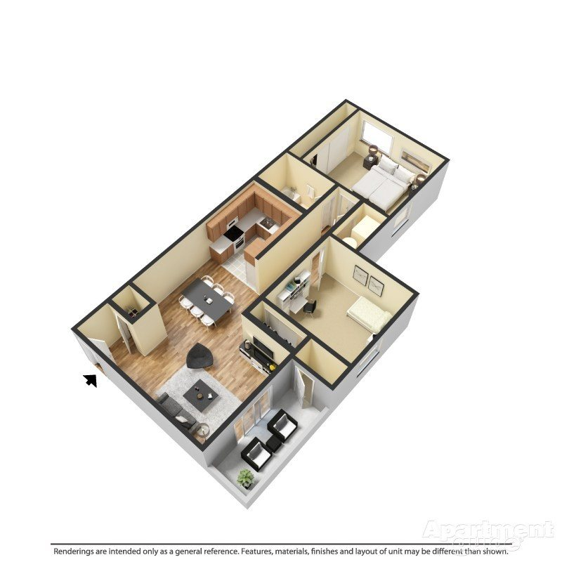 2 Bed 1 Bath A Floor Plan 4