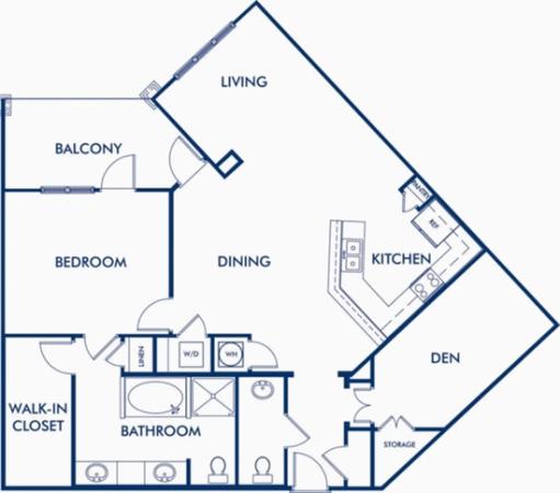 The Midtown - 1 Bedroom with Den Floor Plan 3