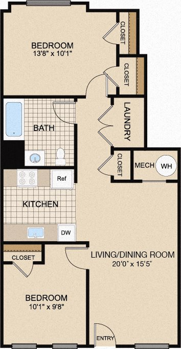 two-bedroom apartment floor plan in Trenton, NJ
