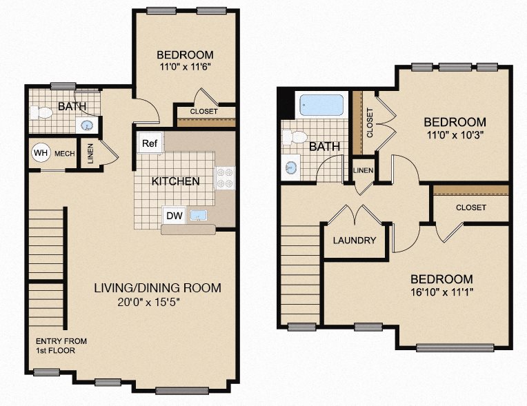 three-bedroom apartment floor plan in Trenton, NJ