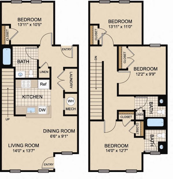 Four bedroom townhome floor plan in Trenton, NJ