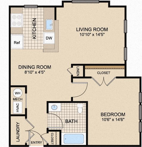 One-bedroom apartment floor plan