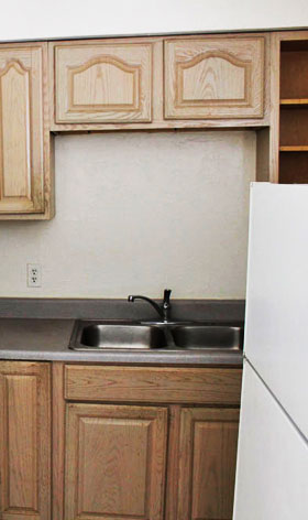 Kitchen at Victoria Square Apartments in Lawton