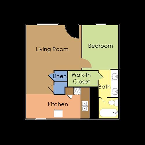 1 bedroom, 1 bath large Floor Plan 2