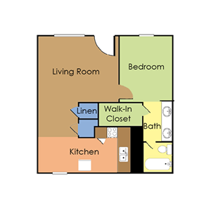 1 bedroom, 1 bath small