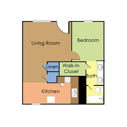 1 bedroom, 1 bath small Floor Plan 1