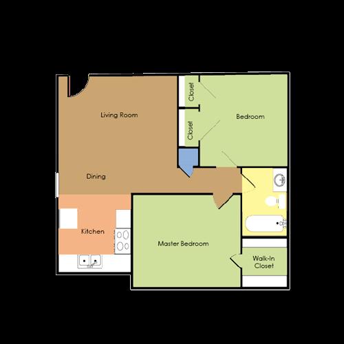 2 bedroom, 1 bath Floor Plan 3