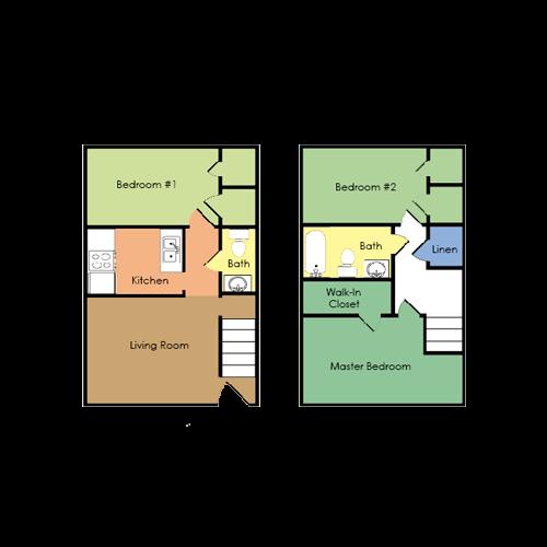 3 bedroom, 1.5 bath Floor Plan 4