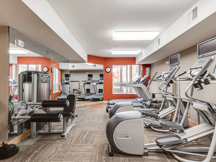 Fitness room with various equipment