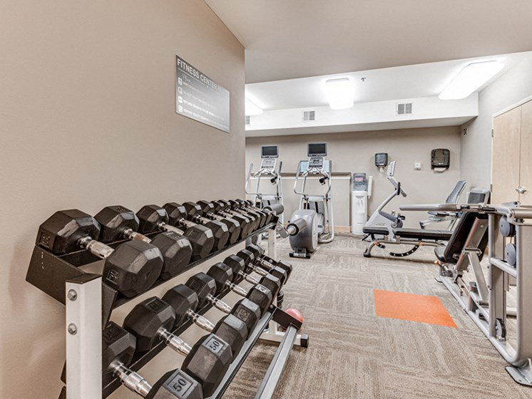 Fitness room with weight rack