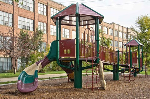 Ovaltine Court is Great for Kids -- Playground just adjacent to the building