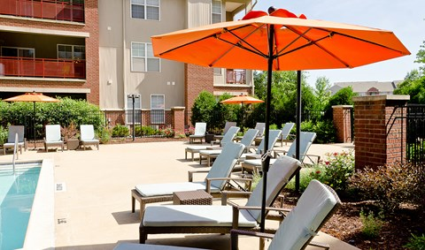 Relax with neighbors on the Ovaltine Court pool lounge.