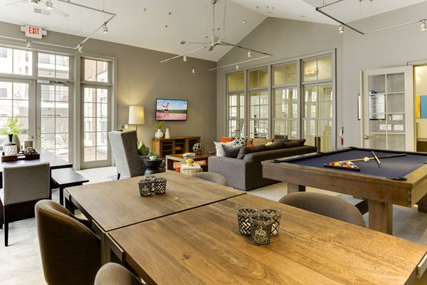 newly renovated resident game room at Central Park Apartments in Worthington, Columbus, OH