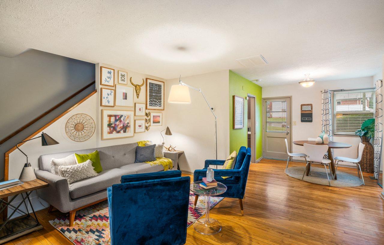 Model Floor Plan Living Room Interior at Hawthorne Northside in Asheville NC