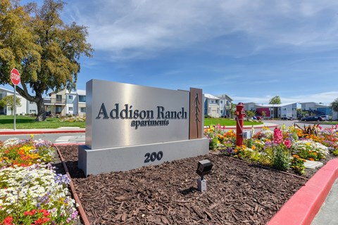 Addison Ranch Apartments Company Sign with  Wood Chip Floor, Flower Beds, Fire Hydrant, and Road