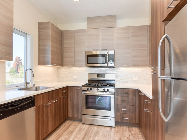Luxury Apartment Kitchen Hardwood Inspired Floors Stainless Steel Appliances and Designer Touches