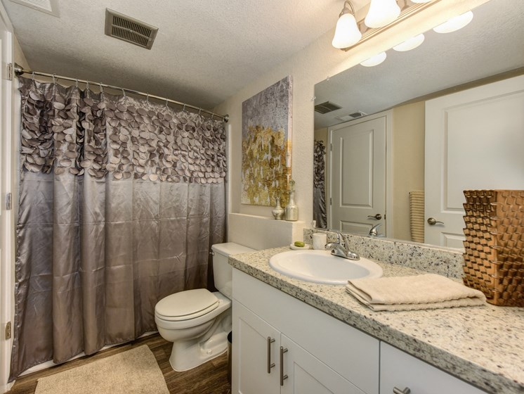 Luxury Apartment Community Bathroom with Granite Countertops