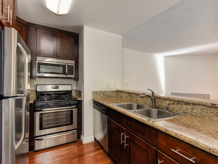 Luxury Apartment Kitchen with Quartz Granite Countertops and Stainless Steel Appliances