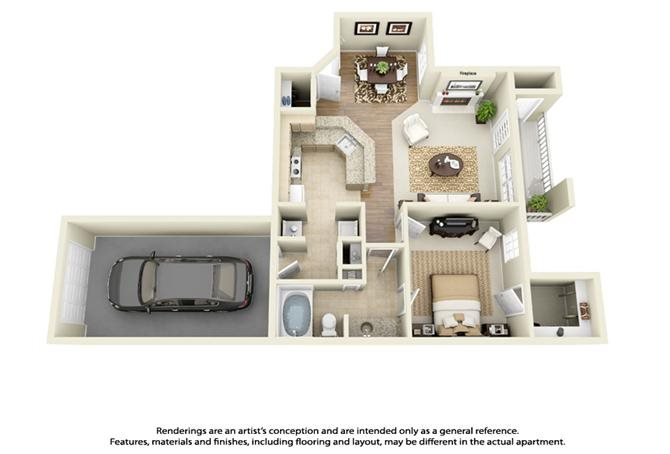 Plan A1 - 1 Bed 1 Bath Floor Plan 1