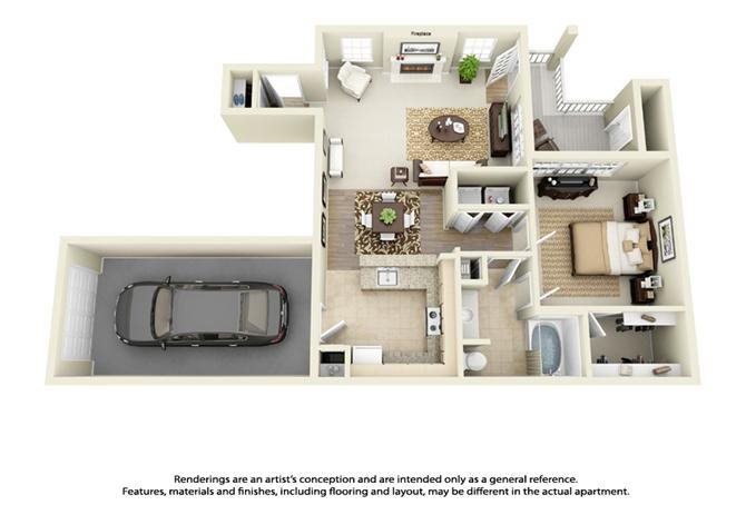 Plan A2 - 1 Bed 1 Bath Floor Plan 2